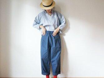 Linen button gather blouse 長袖 BLUE(stripe)の画像