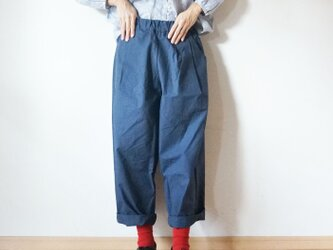 Cotton antique tuck pants NAVYの画像