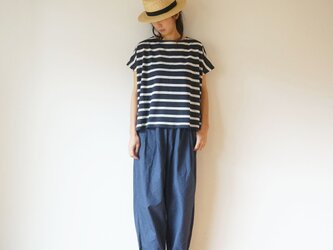 Linen cut-sew NAVY×WHITEの画像