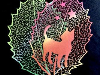 切り絵原画作品・猫の散歩の画像