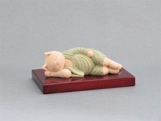 木彫り 袈裟を着た涅槃猫 猫仏1901の画像