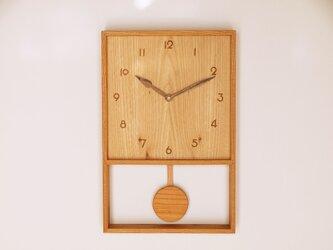 木製 箱型 振り子時計 ケヤキ材12の画像