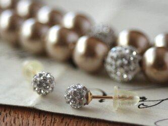 卒業式/入学式*2点セット パールネックレス 14kgfビジューピアス ベージュ 卒園式 入園式 ウエディング 結婚式 真珠の画像