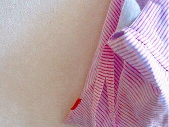 しましまピンクリネン肩掛けbagの画像