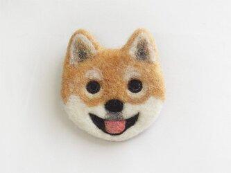 【受注制作】犬顔フェルトブローチ(日本犬・茶)の画像