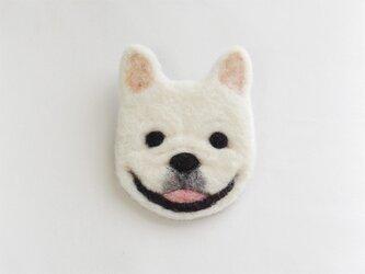 【受注制作】犬顔フェルトブローチ(フレンチブル・白)の画像