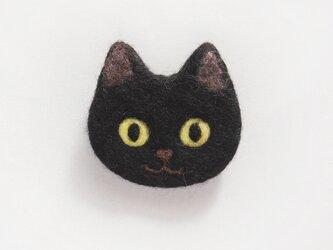 【受注制作】猫顔フェルトブローチ(くろ)の画像