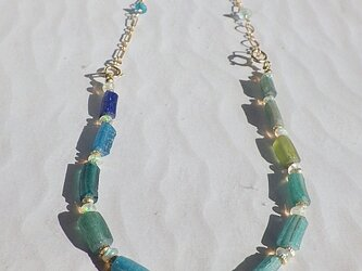 4WAY! 海色ローマングラス Ocean Romanglass Bracelet&Necklace  *14kgf*の画像