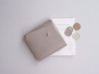 スクエア財布 GRAY (型押し牛革)の画像