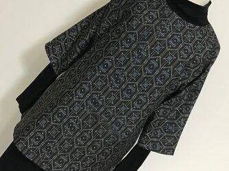 0117    着物リメイク    M寸法のチュニック    村山大島紬    幾何学模様の画像