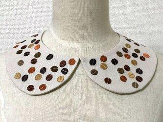 手刺繍つけ襟(珈琲豆)の画像