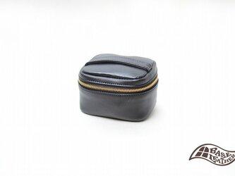 本革化粧ポーチ ブラック【日本製】の画像