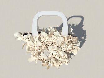 [cyane]basket bag / fabric:white marble × handle:whiteの画像