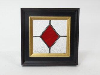 ステンドグラスパネル ダイヤ柄 アンティークフレームの画像