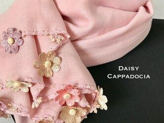 刺繍のお花つき パシュミナストール「デイジー」ピンク&ベージュの画像
