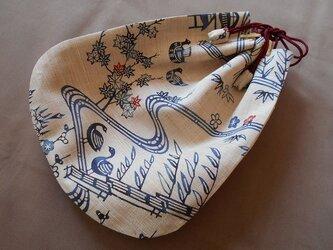 リメイク*信玄袋(大)白茶鳥笹東屋(紐臙脂)の画像