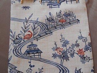 リメイク*信玄袋(大)白茶鳥笹東屋(紐濃紺)の画像