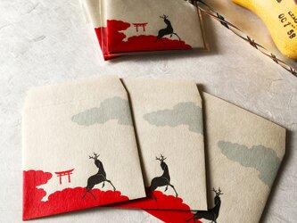 角型ぽち袋・鳥居鹿の画像