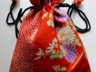 送料無料 絞りと花柄の着物で作った巾着袋 4029の画像