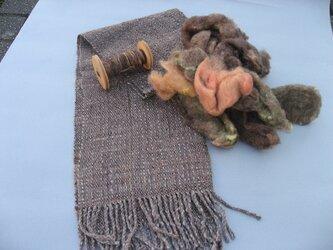 手織り 手紡ぎ 草木染めマフラー MUF122A メリノウール シルク 茶系 男女兼用 防寒 プレゼントの画像