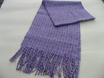手織り ウール ラベンダー色 マフラー MUF117A パープル 薄紫 プレゼントの画像