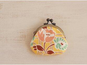 ■丸型がま口コインケース / 黄色の花柄■の画像