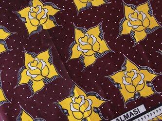 アフリカ布『カンガ』ブラウン フラワーの画像