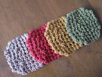 漂白剤が使える八角形のマクラメ編みのコースター~アクリルコードでの画像