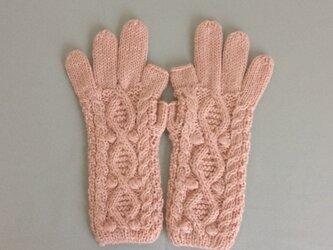 【受注制作】手袋アルパカ×ラムウール淡いピンクの画像