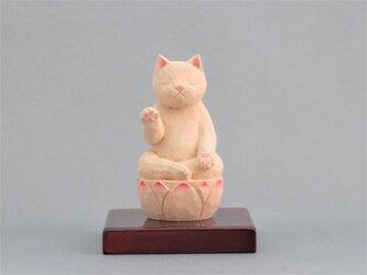 木彫り 阿弥陀猫 猫仏1902の画像