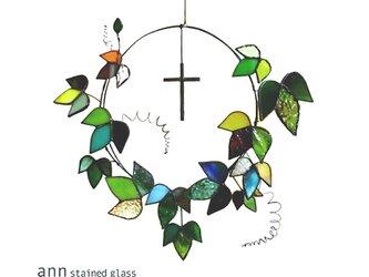 ステンドグラス アイビーリースA190118-GKの画像