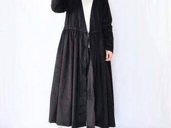 春待ち♡細コーデュロイカシュクールワンピース♡マキシ丈・ブラック・レイヤードスタイル♡の画像