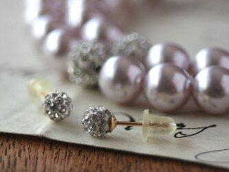 卒業式/入学式*2点セットロングパールネックレス 14kgfビジューピアス ピンク 卒園式 入園式 ウエディング 結婚式 真珠の画像