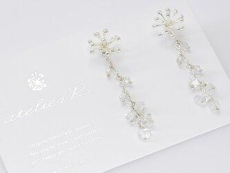 #671★氷の華★2WAYカレンシルバーとハーキマーダイヤモンドのピアスSilver925の画像