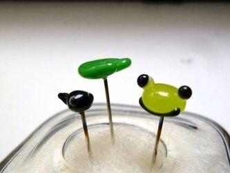 ガラスのマチ針 かえるセットの画像