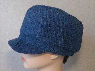 魅せる帽子☆ジャガードデニムのリバーシブルキャスケットの画像