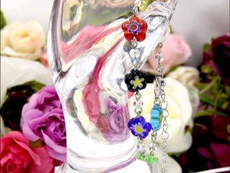 (新作)7色のお花のブレスレット【ガラスフラワーのビーズブレスレット】 《ビーズアクセサリー》の画像
