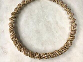【受注生産】ビーズステッチのネックレス ゴールド マグネット着脱の画像