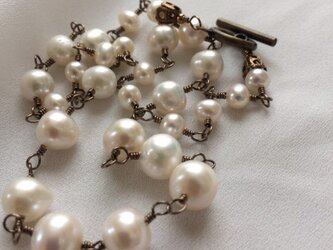 vintage antique style pearls necklaceの画像