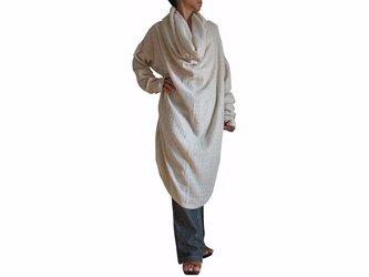 ターポン手織り綿のロングオフタートルチュニック 生成(BFS-121-02)の画像