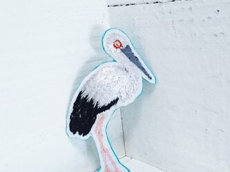 コウノトリちゃん*刺繍ブローチの画像