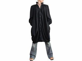 柔らかヘンプのチュニックロングシャツ 黒(BNN-123-01)の画像