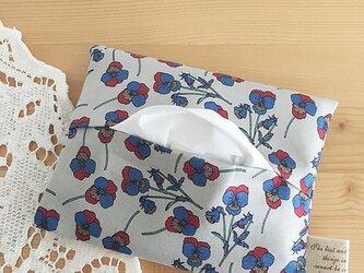 リバティ パンジー 花柄 ライトグレー ポケットティッシュ ケース♪の画像