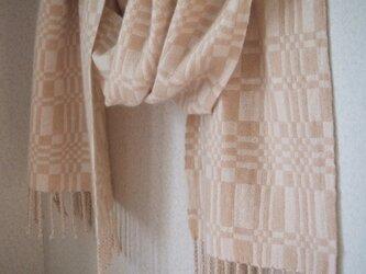 手織りカシミアストール・・ハニー&ミルクの画像