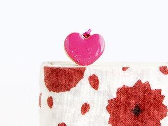 木製ハートしおり(ピンク)の画像