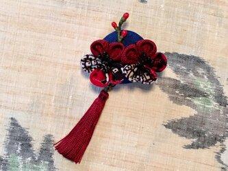 「紅梅」つまみ細工 ブローチの画像