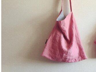 手提げbag   天日干しリネン ピンクの画像