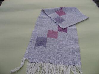手織り マフラー MUF112A たて絣 ピンク パープル系 シルク ラメ入り プレゼントの画像