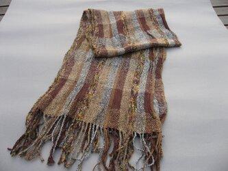 手織り マフラー MUF106A ツイード調 ウール シルク 茶系 ブラウン系 チェック柄 強撚糸 男女兼用 プレゼントの画像