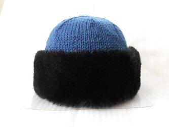 大人おしゃれニット帽子ブルーの画像